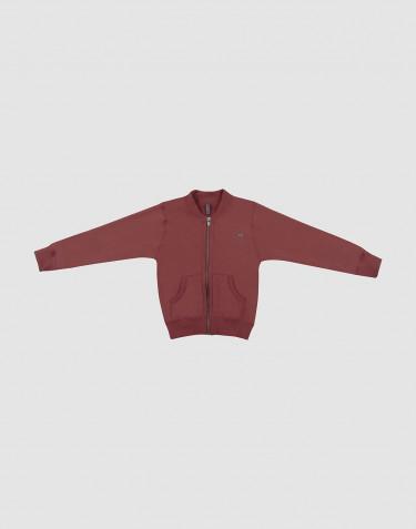 Children's wool terry zip jacket- rouge