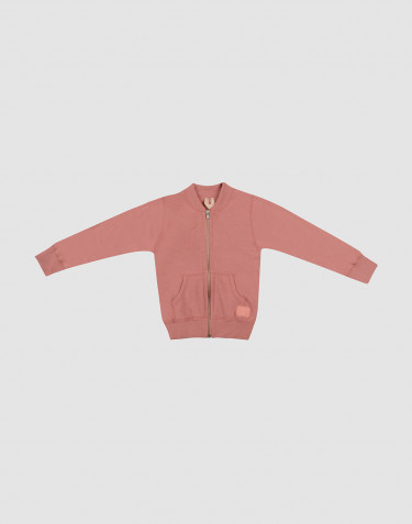 Children's wool terry zip jumper- Dark Pink