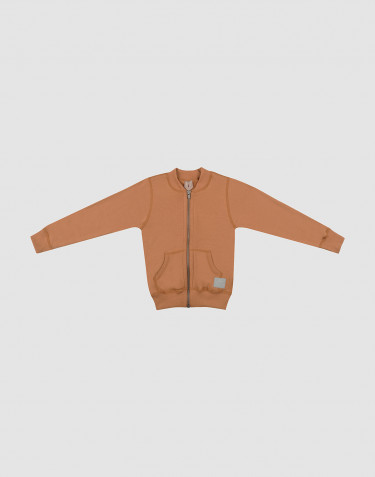 Children's wool terry zip jumper- Caramel