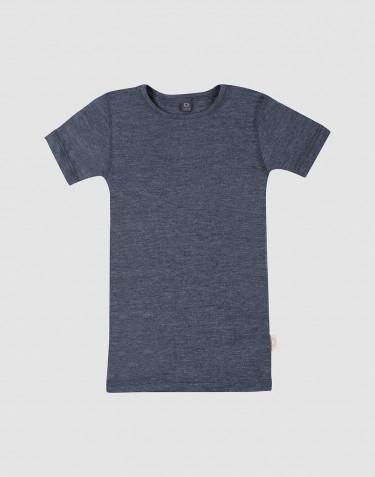 Children's wool/silk T-shirt- Mottled Blue