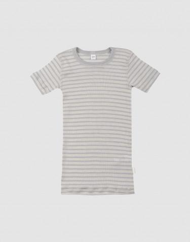 Children's organic wool/silk T-shirt- grey/nature