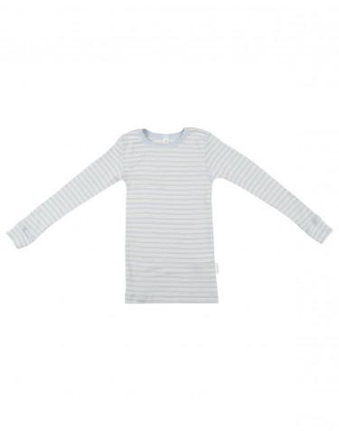 Children's long sleeve organic merino wool top - blue/nature