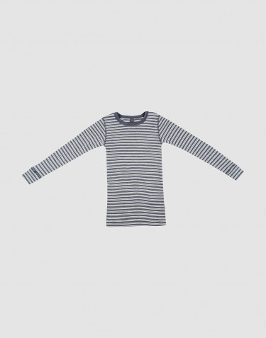 Children's organic wool/silk long sleeve top- Mottled Blue/ Nature