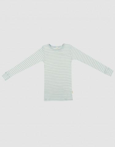 Children's organic wool/silk long sleeve top- Pastel Green/Nature