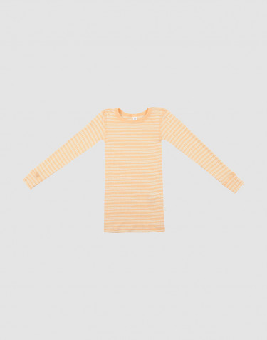 Children's long sleeve organic wool/silk top - apricot/nature