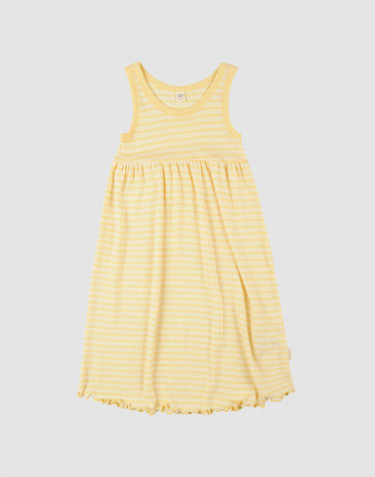 Kids' Organic Wool/Silk Sleeveless Dress- Light Yellow/ Nature