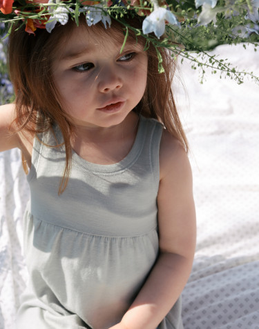 Children's organic wool/silk strap dress- Pastel Green