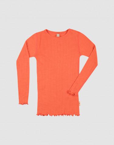 Children's merino wool/silk pointelle long sleeve top