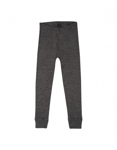 Kids' organic merino wool long johns- dark grey melange