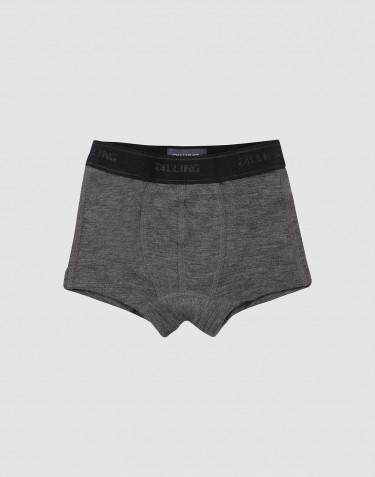 Boys' organic merino wool boxers- dark grey melange