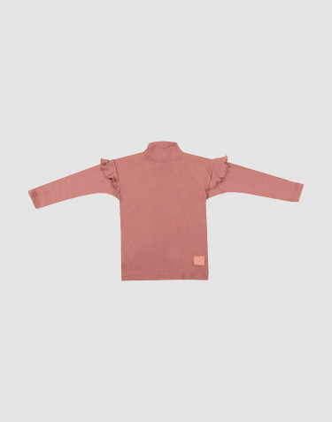 Children's ruffled wool top- Dark Pink