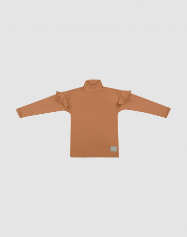 Children's ruffled wool top- Caramel