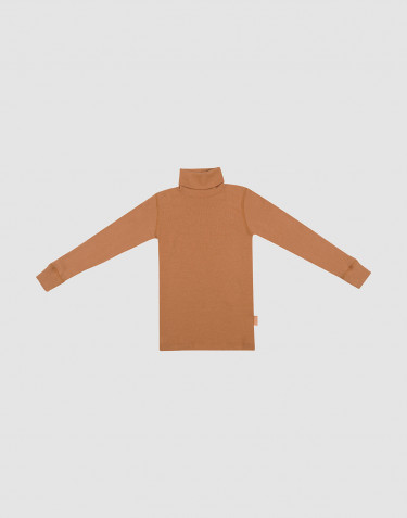 Children's merino wool turtleneck top- Caramel