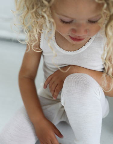 Kids' merino wool long johns- nature