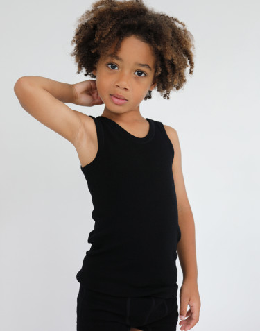 Kids' organic merino wool tank top- black