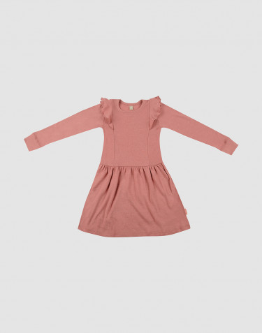 Children's ruffled wool dress- Dark Pink