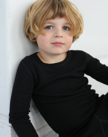 Kids' organic merino wool long sleeve top- black