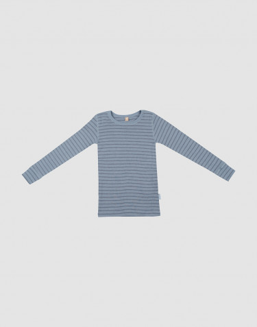 Children's wool long sleeve top- Blue Stripe