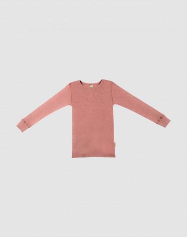 Children's wool long sleeve top- Dark Pink