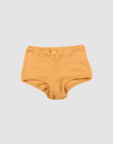 Girls' merino wool wide knit hipsters- yellow