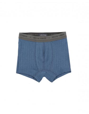 Boys' ribbed boxer shorts- china blue
