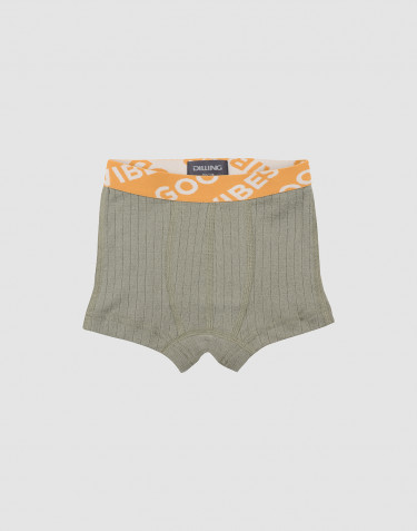 Boy's wide rib knit boxer shorts- olive green