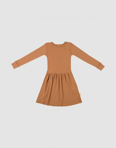 Children's rib knit wool dress- Caramel