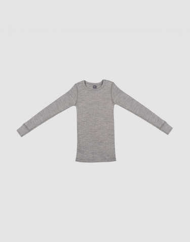 Children's ribbed long sleeve top- grey melange