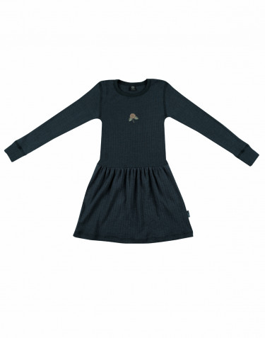 Children's long sleeve wool knit dress- dark petrol blue