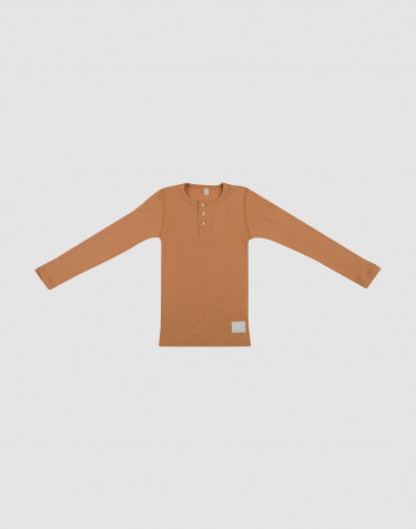 Children's wool rib buttoned top- Caramel