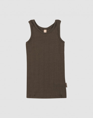 Children's wide wool rib baselayer- Dark Chocolate