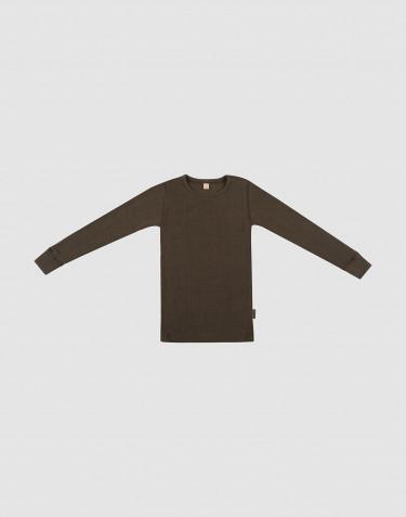 Children's wide rib wool long sleeve top- Dark Chocolate