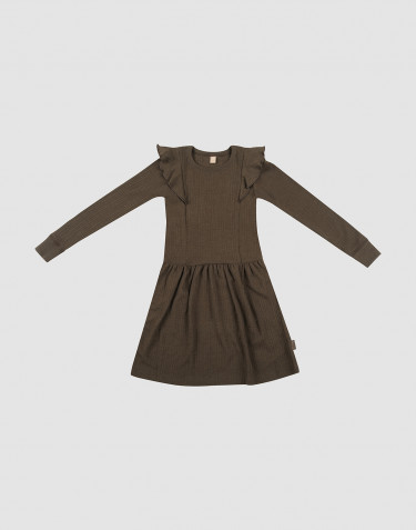 Children's ribbed wool ruffled dress- Dark Chocolate