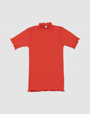 Children's merino wool T-shirt with frilled edges