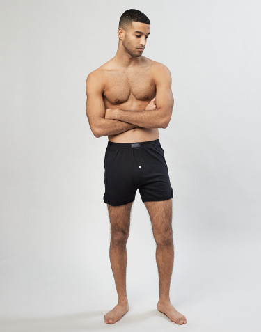 Men's cotton boxer shorts with fly- black