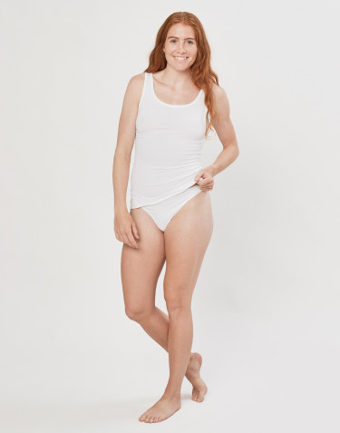 Women's high waist cotton thong- white