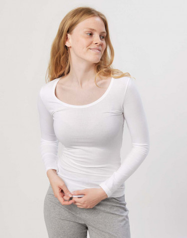 Women's cotton long sleeve top- white