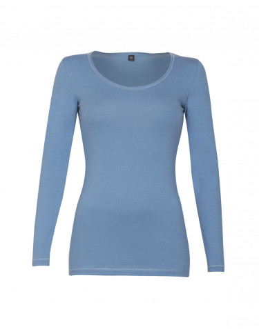 Women's cotton long-sleeve top- blue