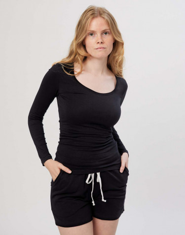 Women's cotton long sleeve top- black
