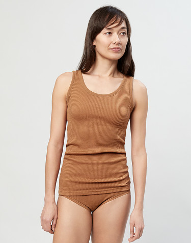 Ladies ribbed top-caramel