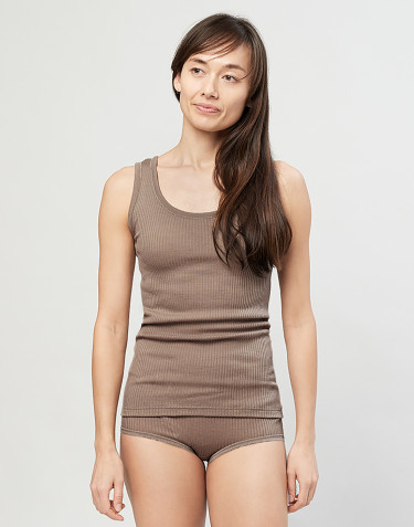 Ladies ribbed top-sand