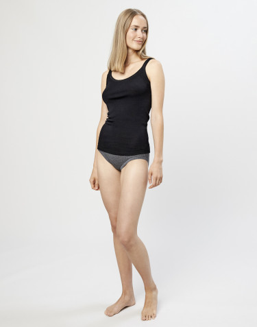 Women's ribbed merino wool midi briefs- dark grey melange