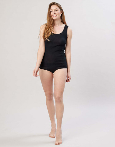 Women's ribbed midi merino wool briefs- black