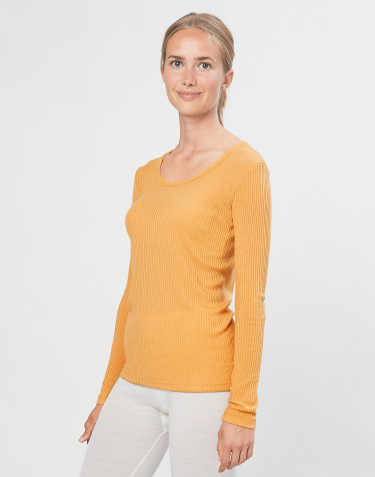 Women's organic merino wool long sleeve top- yellow