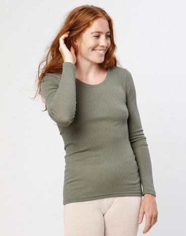 Women's merino wool long sleeve top- olive green
