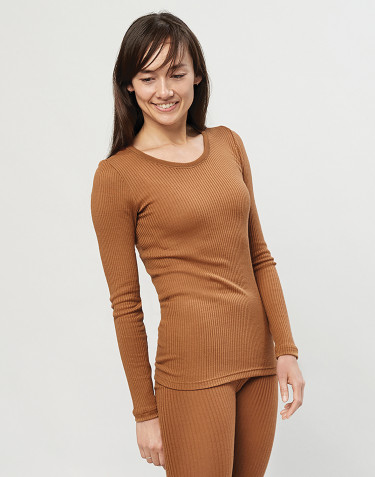 Women's merino wool long sleeve top-caramel
