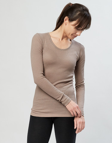 Women's merino wool long sleeve top-sand