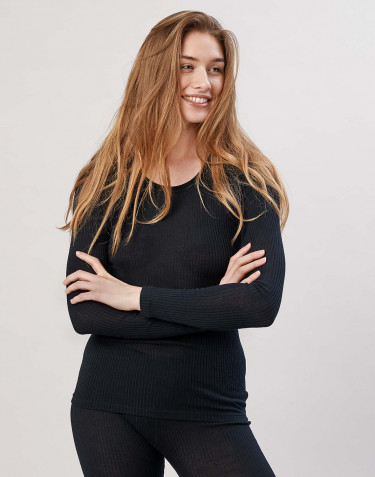 Women's ribbed merino wool top- black