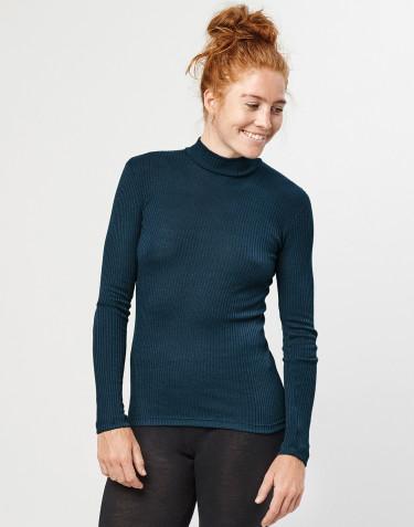 Women's merino wool high neck ribbed top- dark petrol blue