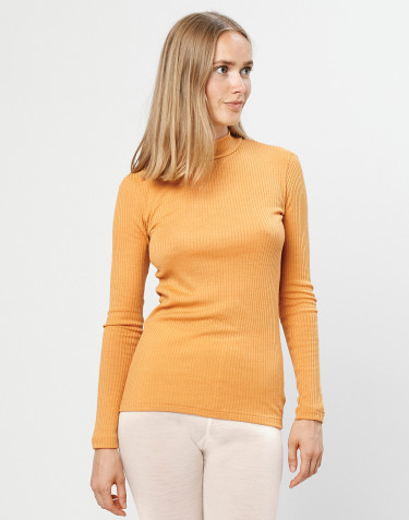 Women's ribbed merino wool high neck top- yellow